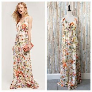 Anthropologie M Floral Leilani Halter Maxi Dress